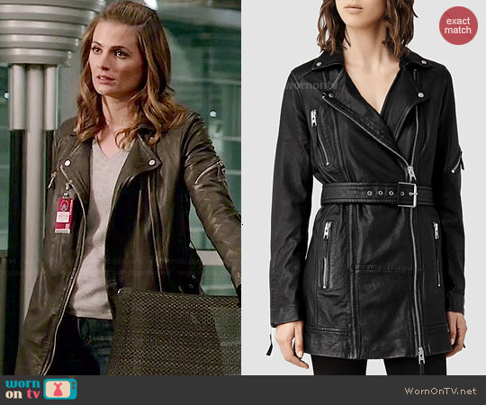 All Saints Asker Biker Jacket worn by Stana Katic on Castle