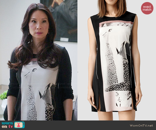 All Saints Aster Paradiso Dress worn by Joan Watson on Elementary