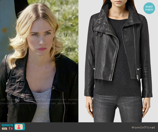 All Saints Bales Leather Biker Jacket worn by January Jones on Last Man On Earth