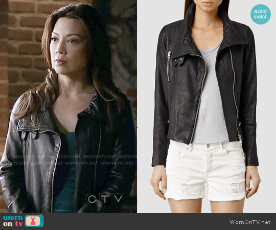 All Saints Bales Leather Biker Jacket worn by Ming-Na Wen on Agents of SHIELD
