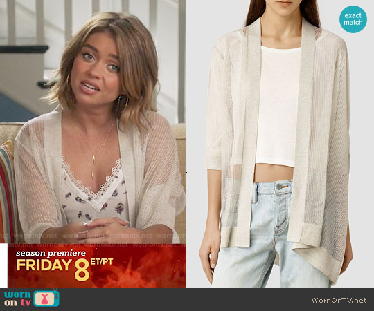 All Saints 'Bishi' Cardigan in Mist worn by Haley Dunphy on Modern Family