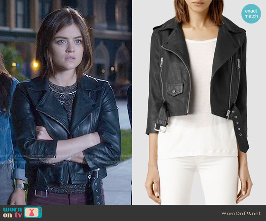 All Saints Brooklyn Leather Biker Jacket worn by Lucy Hale on PLL