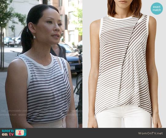 All Saints Caper Bar Tank worn by Lucy Liu on Elementary