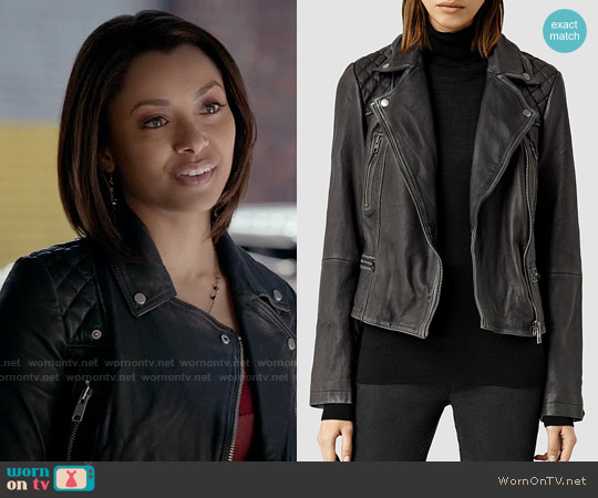 All Saints Cargo Leather Biker Jacket worn by Kat Graham on The Vampire Diaries