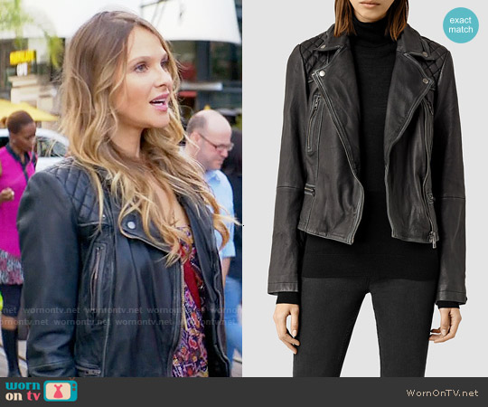 All Saints Cargo Biker Jacket worn by Phoebe Wells on GG2D