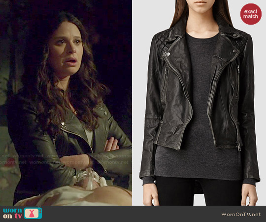 All Saints Cargo Leather Biker Jacket worn by Katie Lowes on Scandal