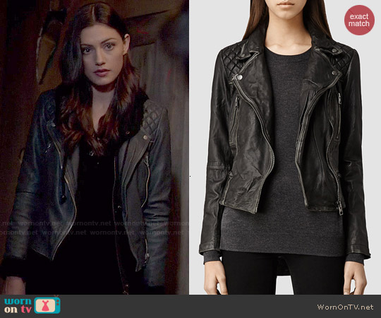 All Saints Cargo Leather Biker Jacket worn by Phoebe Tonkin on The Originals