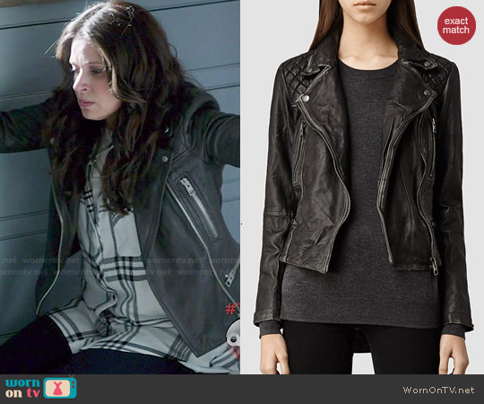 All Saints Cargo Leather Biker Jacket worn by Quinn Perkins on Scandal
