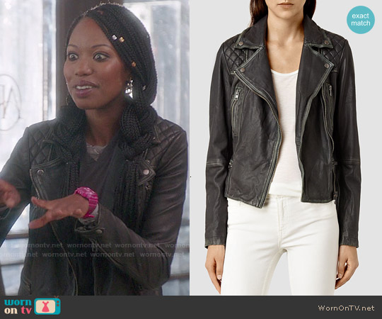 All Saints Cargo Biker Jacket worn by Xosha Roquemore on The Mindy Project