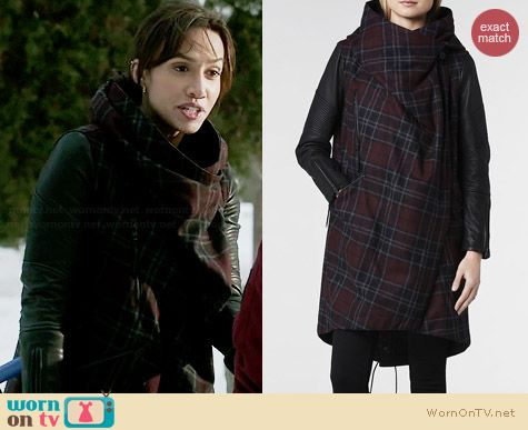 All Saints Check Maze Parka Jacket worn by Nina Lisandrello on BATB