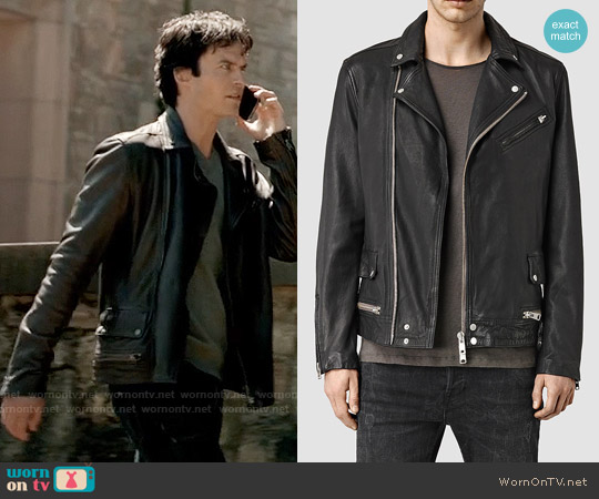 All Saints Clay Leather Jacket worn by Ian Somerhalder on The Vampire Diaries