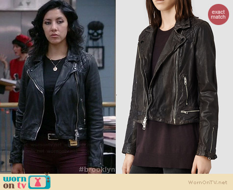 All Saints Conroy Leather Biker Jacket worn by Stephanie Beatriz on Brooklyn 99