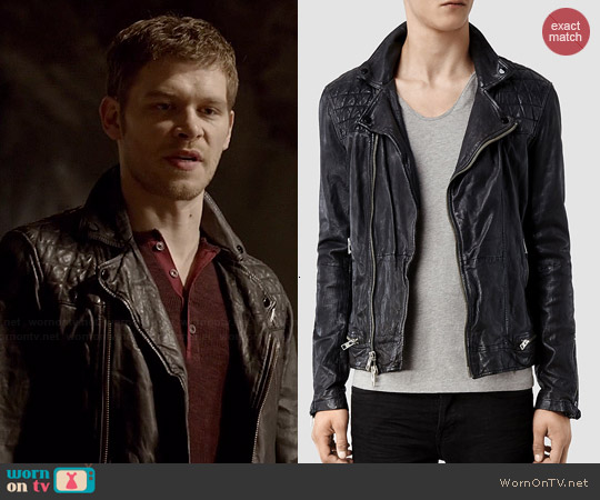 All Saints Conroy Leather Biker Jacket worn by Joseph Morgan on The Originals
