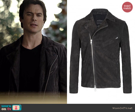 All Saints Crawley Leather Biker Jacket worn by Ian Somerhalder on The Vampire Diaries