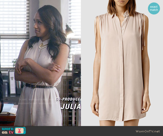 All Saints Drain Dress in Dusty Pink worn by Candice Patton on The Flash