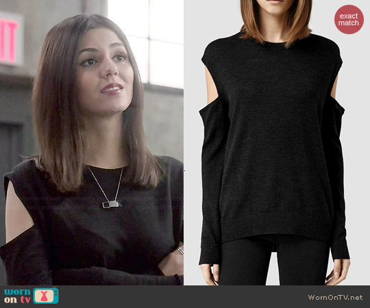 All Saints Elion Sweater in Cinder Marl worn by Victoria Justice on Eye Candy