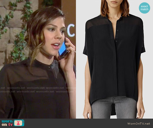 All Saints Fleet Shirt in Black worn by Marci Miller on Days of our Lives