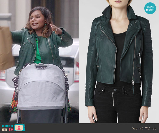 All Saints Forest Leather Biker Jacket worn by Mindy Kaling on The Mindy Project