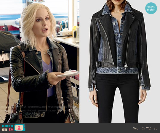 All Saints Frame Leather Biker Jacket worn by Rose McIver on iZombie