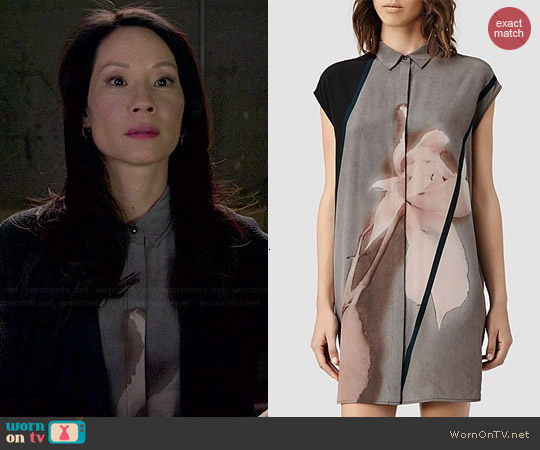 All Saints Giovia Disperse Shirt Dress worn by Joan Watson on Elementary