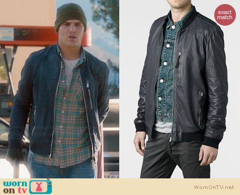 All Saints Hakonie Leather Bomber Jacket worn by Chris Zylka on The Leftovers