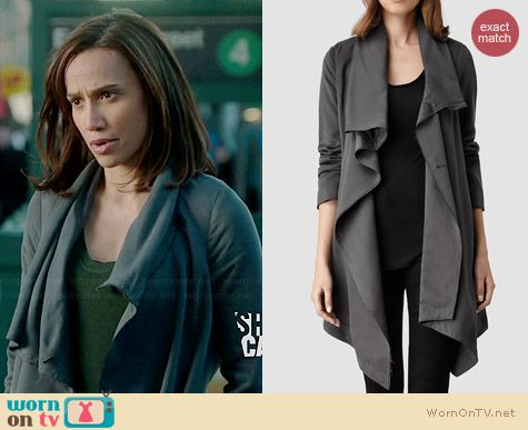 All Saints Hoxton Monument Coat worn by Nina Lisandrello on BATB