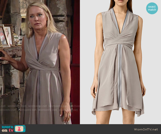 All Saints Jayda Dress in Powder Grey worn by Sharon Case on The Young & the Restless