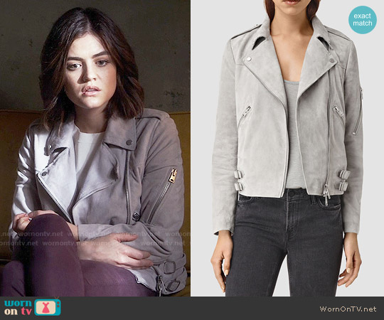 All Saints Latham Suede Biker Jacket worn by Lucy Hale on PLL