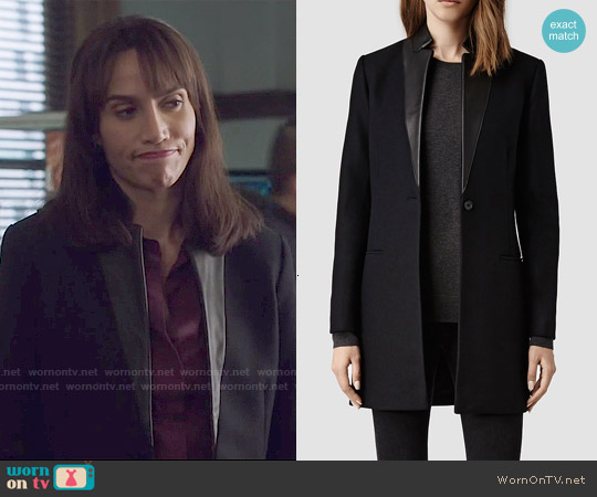 All Saints Lorie Coat worn by Nina Lisandrello on Beauty & the Beast