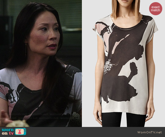 All Saints Ombre Floral T-shirt worn by Lucy Liu on Elementary