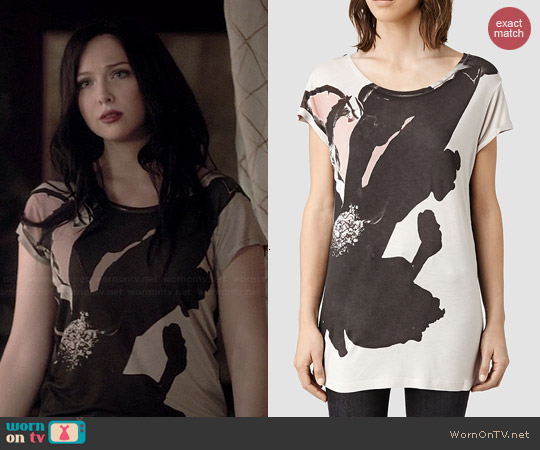 All Saints Ombre Floral Tshirt worn by Molly Quinn on Castle
