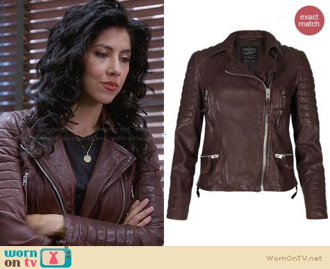 All Saints Oxblood Biker Jacket worn by Stephanie Beatriz on Brooklyn 99