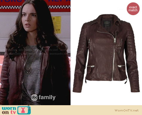 All Saints Oxblood Biker Jacket worn by Vanessa Marano on Switched at Birth