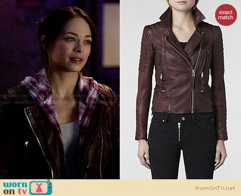 All Saints Oxblood Leather Jacket worn by Kristin Kreuk on BATB