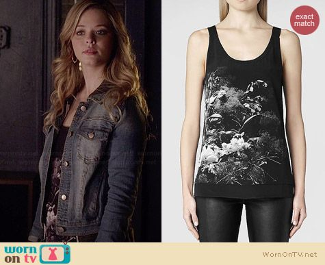 All Saints Quinta Flora Tank worn by Sasha Pieterse on PLL