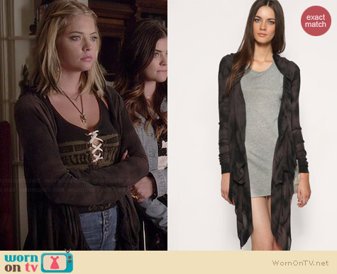 All Saints Raven Cardigan worn by Ashley Benson on PLL