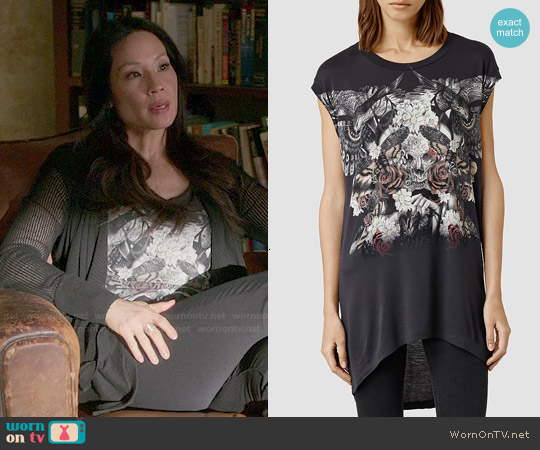 All Saints Styx Step Tee worn by Lucy Liu on Elementary