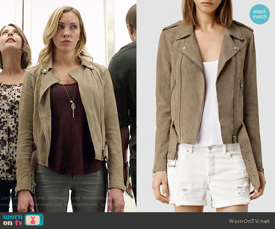 All Saints Suede Western Biker Jacket worn by Katie Cassidy on Arrow