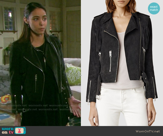 All Saints Tassel Suede Biker Jacket worn by Vivian Jovanni on Days of our Lives