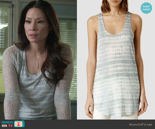 All Saints Tigris Edge Vest worn by Lucy Liu on Elementary