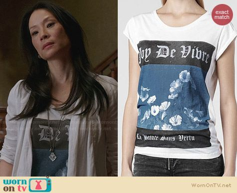 All Saints Blue Virtue Boyfriend Tshirt worn by Lucy Liu on Elementary