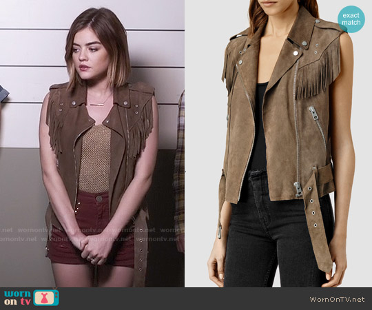 All Saints Western Tassel Gilet worn by Lucy Hale on PLL