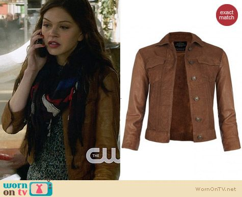All Saints Whitting Leather Sleeve Jacket worn by Aimee Teegarden on Star-Crossed