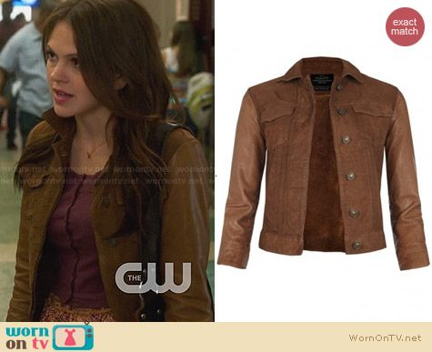 All Saints Whitting Cropped Leather Jacket worn by Aimee Teegarden on Star-Crossed