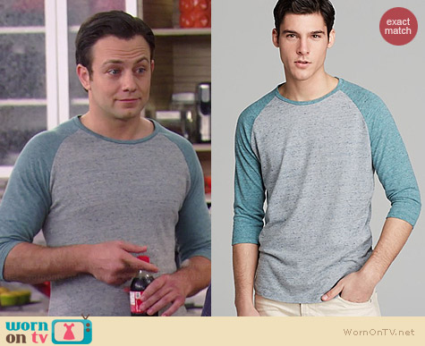 Alternative Willoughby Baseball Tee in Canal Blue worn by Jonathan Sadowski on Young & Hungry