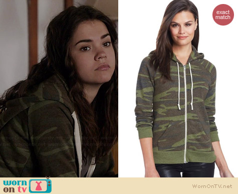 Alternative Adrian Hoodie in Eco Camo worn by Maia Mitchell on The Fosters