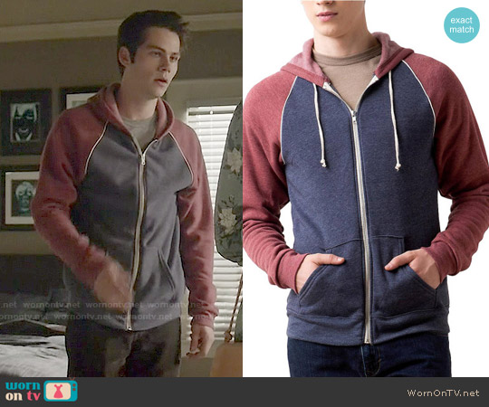 Alternative Colorblock Raglan Hoodie worn by Dylan O'Brien on Teen Wolf