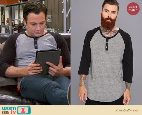 Alternative Eco Grey and Eco Black Henley worn by Jonathan Sadowski on Young & Hungry