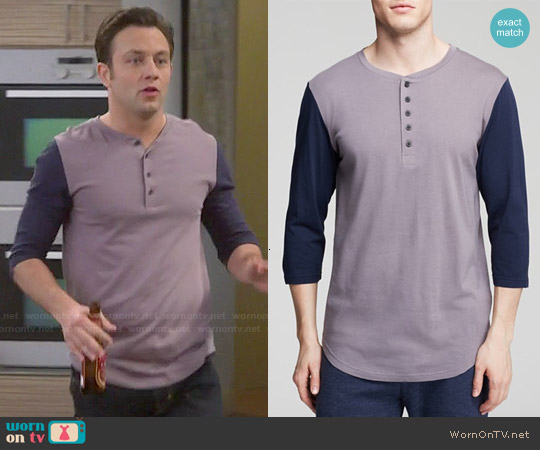 Alternative Nickle / Midnight Baseball Henley worn by Jonathan Sadowski on Young & Hungry