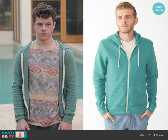 Alternative Apparel Rocky Hoodie in Eco True Viridian worn by Luke Dunphy on Modern Family